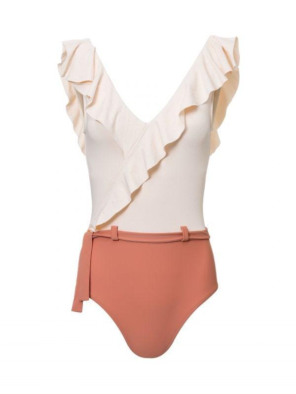 Bañador para mujer rosa con volantes María Angora